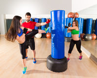 Boxing aerobox women group personal trainer Stock Image