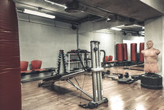Boxing area in gym royalty free stock image