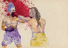 Boxing arena 2. Boxing match - two warriors. Full-sized (original) hand drawing (useful for converting live trace for the  image - and others). Technique Royalty Free Stock Photos