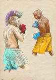 Boxing arena 3. Boxing match - two warriors. Full-sized (original) hand drawing (useful for converting live trace for the  image - and others). Technique Stock Photo