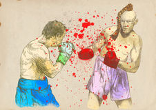 Boxing arena 4. Boxing match - two warriors. Full-sized (original) hand drawing (useful for converting live trace for the  image - and others). Technique Royalty Free Stock Image