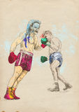 Boxing arena 7. Boxing match - two warriors. Full-sized (original) hand drawing (useful for converting live trace for the  image - and others). Technique Stock Photography