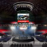 Boxing arena with stadium light 3d rendering stock image