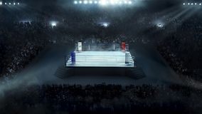 Boxing arena with stadium light. Full view Royalty Free Stock Photos