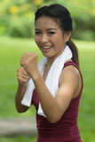 Boxing asian girl Royalty Free Stock Photo