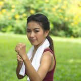 Boxing asian girl Royalty Free Stock Image