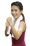 Boxing asian girl Stock Photo
