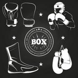 Boxing athlet and sport on chalkboard royalty free illustration