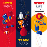 Boxing Attributes Vertical Banners Set Royalty Free Stock Photos