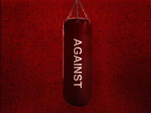 Boxing bag. Boxing punch bag on red background Stock Photo