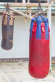 Boxing bags hanging at sports gym. Royalty Free Stock Photos
