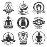 Boxing Black Emblems On White Background Stock Photos