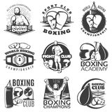 Boxing Black White Emblems. Of clubs and championships with fighter sports equipment award  vector illustration Royalty Free Stock Image