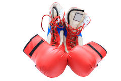 Boxing boots and gloves Stock Image