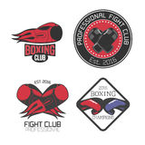 Boxing, box club set, collection of vector icons, logo, symbol, emblem, signs. Nonstandard design elements with boxing gloves for club, school, fighting Royalty Free Stock Images