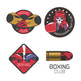 Boxing, box club set of vector icons, logo, symbol, emblem, signs. Illustration. Nonstandard template graphic design elements with boxing gloves for club Royalty Free Stock Photo
