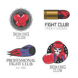 Boxing, box club set of vector icons, logo, symbol, emblem, signs. Nonstandard graphic design elements with boxing gloves for club, school, championship Royalty Free Stock Image