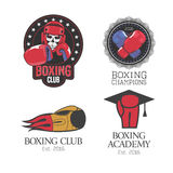 Boxing, box club set of vector icons, logo, symbol. Emblem, signs. Template design elements with boxing gloves for club, school, competition Stock Photo