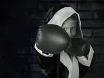 Boxing boy black and white portrait on dark grunge texture Royalty Free Stock Photos