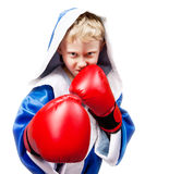 Boxing boy on white background. Boxing boy in red gloves on white background Stock Photo