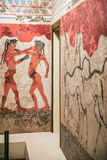 The boxing boys fresco from Thera in Museum Royalty Free Stock Image