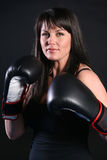 Boxing Brunette Stock Photos
