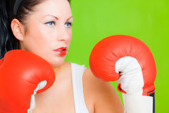 Boxing business success female Royalty Free Stock Images