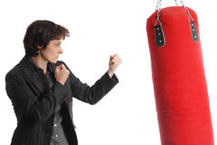 Boxing business woman Royalty Free Stock Photography