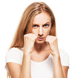 Boxing business woman Royalty Free Stock Images