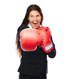 Boxing business woman punching Royalty Free Stock Photography