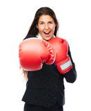 Boxing business woman punching Royalty Free Stock Photo