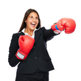 Boxing business woman punching Stock Photos