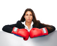 Boxing business woman sign Royalty Free Stock Images