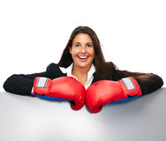 Boxing business woman sign Stock Images