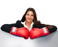 Boxing business woman sign Royalty Free Stock Image