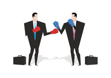 Boxing businessman. Managers are boxing. Office people fight. co Stock Images