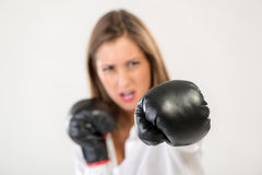Boxing Businesswoman Royalty Free Stock Photos