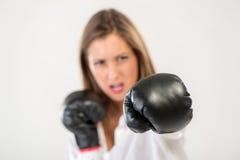 Boxing Businesswoman Royalty Free Stock Photos