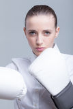 Boxing businesswoman Stock Photo