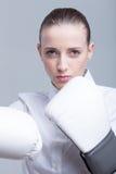 Boxing businesswoman Stock Photo