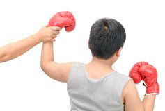 Boxing champion gesturing for first place victory royalty free stock images