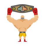 Boxing champion holds belt. Winner in competitions and boxing aw Stock Image