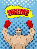 Boxing champion style of pop art with the babble box. Athlete r. Aised his hands in a victory gesture. Man in boxing gloves on a blue background. Vector stock illustration