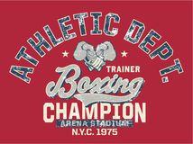 Boxing Champion. Vintage vector artwork for kids sportswear in custom colors, grunge effect in separate layer royalty free illustration