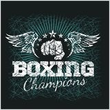 Boxing Champion - Vintage vector artwork for t Royalty Free Stock Image