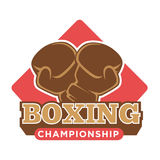 Boxing championship logo label with gloves silhouette on white. Boxing championship logo label with two gloves silhouette in brown color against red square Stock Image