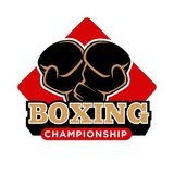 Boxing championship promotional emblem with crossed sport gloves Stock Photography