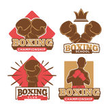 Boxing championship, sport school and private club emblems. Set with special gloves, boxer silhouette and small crown isolated vector illustrations with big Stock Image