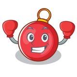 Boxing Christmas ball character cartoon. Vector illustration Stock Photos