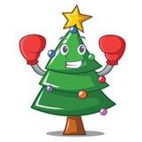Boxing Christmas tree character cartoon. Vector illustration Stock Photography